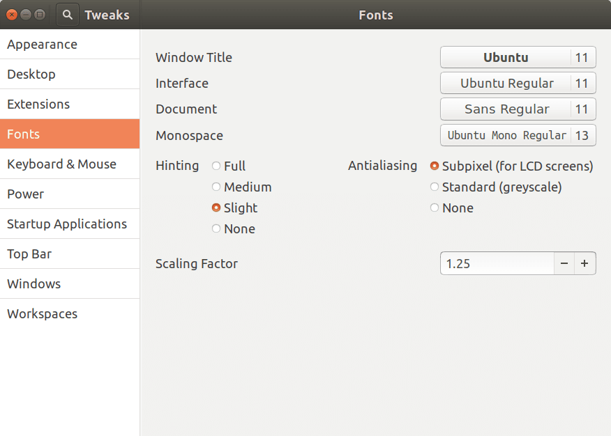 Gnome tweak tool fonts